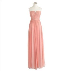 J.Crew Long Nadia Silk Chiffon Dress - Misty Rose